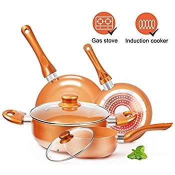 amazoncom shineuri rcs tech real copper infused ceramic coating  pieces cookware set
