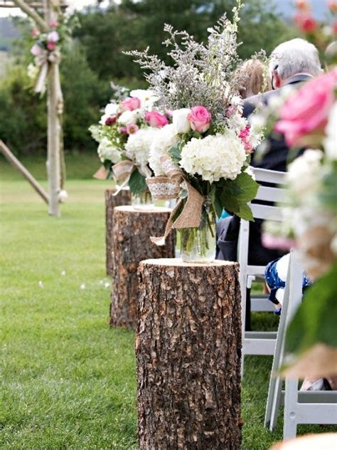 wedding ceremony decorations for sale outdoor wedding aisle design ideas wood stumps woods and weddings