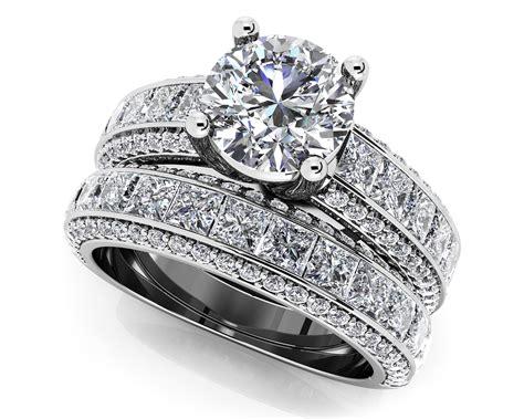 pcs bridal engagement rings set  white gold plated