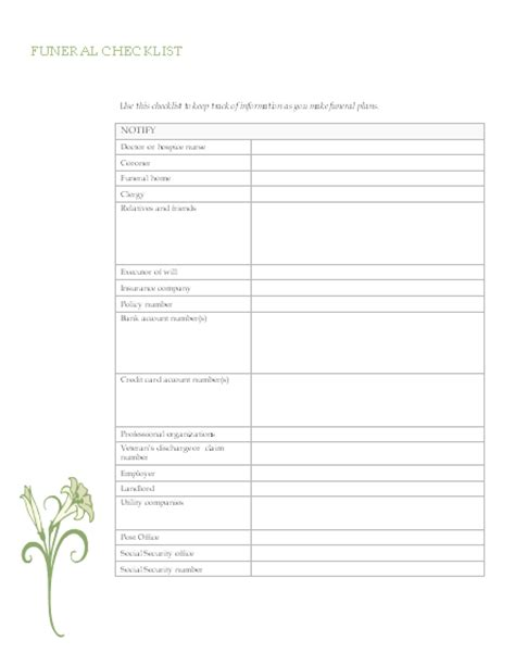 Funeral Service Sheet Template by Funeral Planning Checklist
