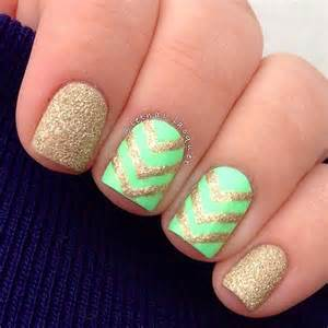 Nail art ideas for short nails gold and neon