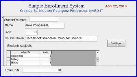 simple enrollment system version   source code