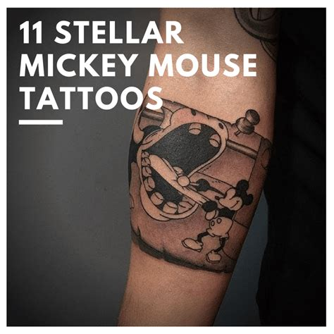Steamboat Willie Tattoo by Oh Boy 11 Stellar Mickey Mouse Tattoos Custom Tattoo Design