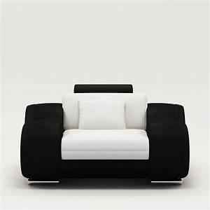 Deco in paris fauteuil cuir relax design blanc et noir for Fauteuil cuir design