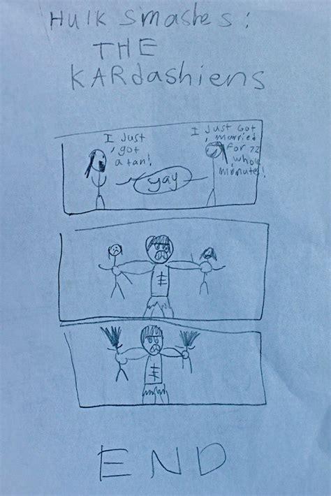 boy draws  hulk smashing  kardashians photo huffpost