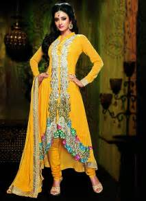 designer suits for dignified yellow georgette designer suit