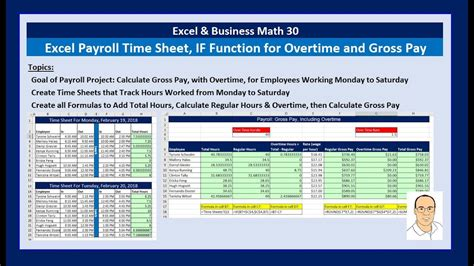 excel business math  payroll time sheets  function