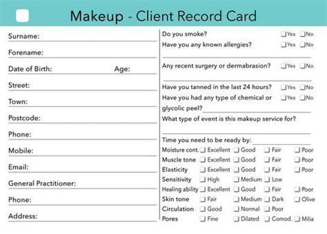 makeup client card treatment consultation card client