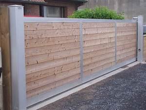 Portail En Bois Pas Cher : portail coulissant bois pas cher fixation portillon fer ~ Melissatoandfro.com Idées de Décoration