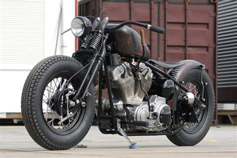 Classic Bobber Motorcycle With Springer Front End, Flat