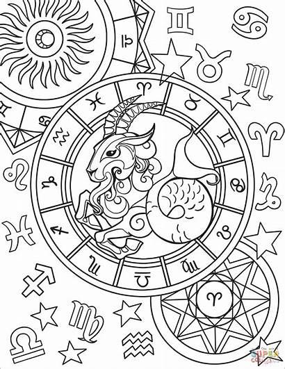 Coloring Capricorn Zodiac Printable Signs Capricornio Zodiaco