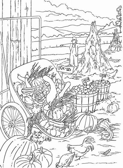 Coloring Pages Adults Scenery Adult Country Farm