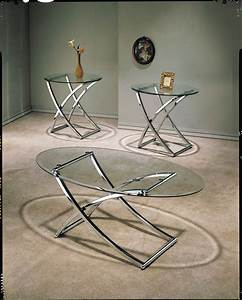 3 piece metal and glass coffee table set With glass and metal coffee table sets