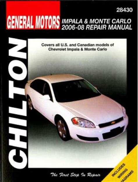 car repair manuals online free 2001 chevrolet monte carlo spare parts catalogs chilton chevrolet impala monte carlo 2006 2008 repair manual