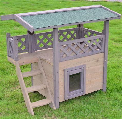 wooden dog house cat house   terrace outdoor