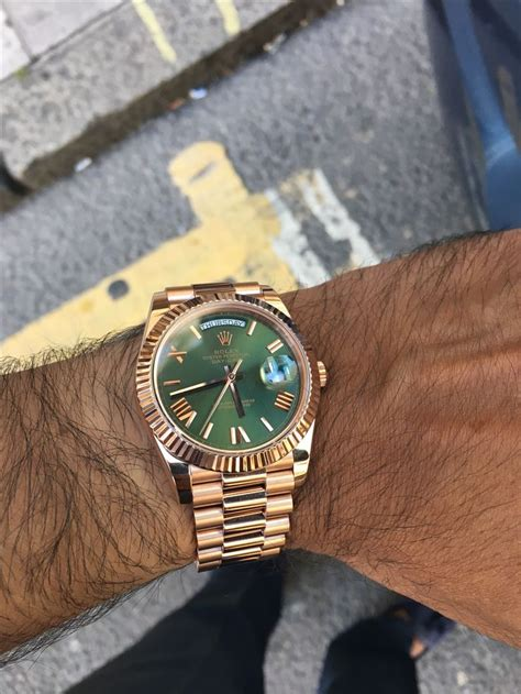rolex day date  everose gold olive green dial reference  simply stunning rolex