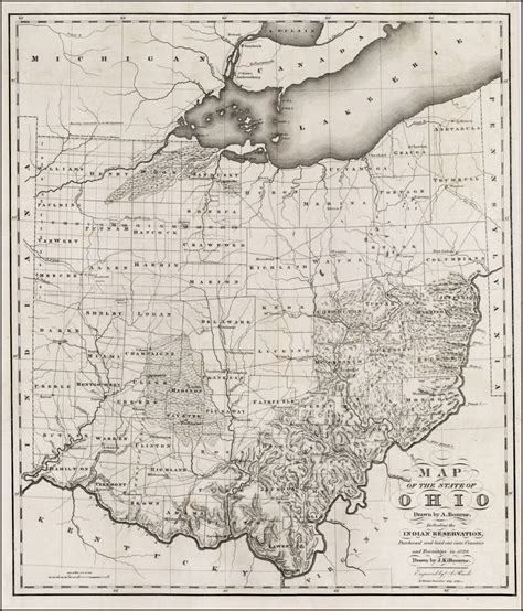Map Of The State Of Ohio Drawn By A Bourne Including