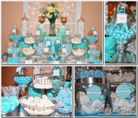 tiffany buffet table ls tiffany blue theme wedding candy dessert buffet via