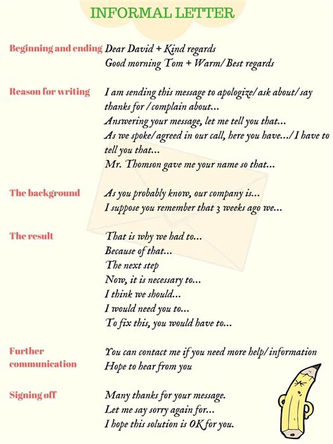 write informal letters  english  examples