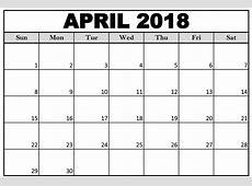 April 2018 Printable Calendar Excel Printable Calendar