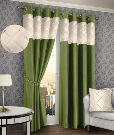 RINGTOP EYELET LINED PINTUCK CURTAIN FAUX SILK LIME GREEN