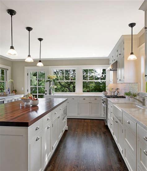 butcher block island and granite counter tops ecclectic