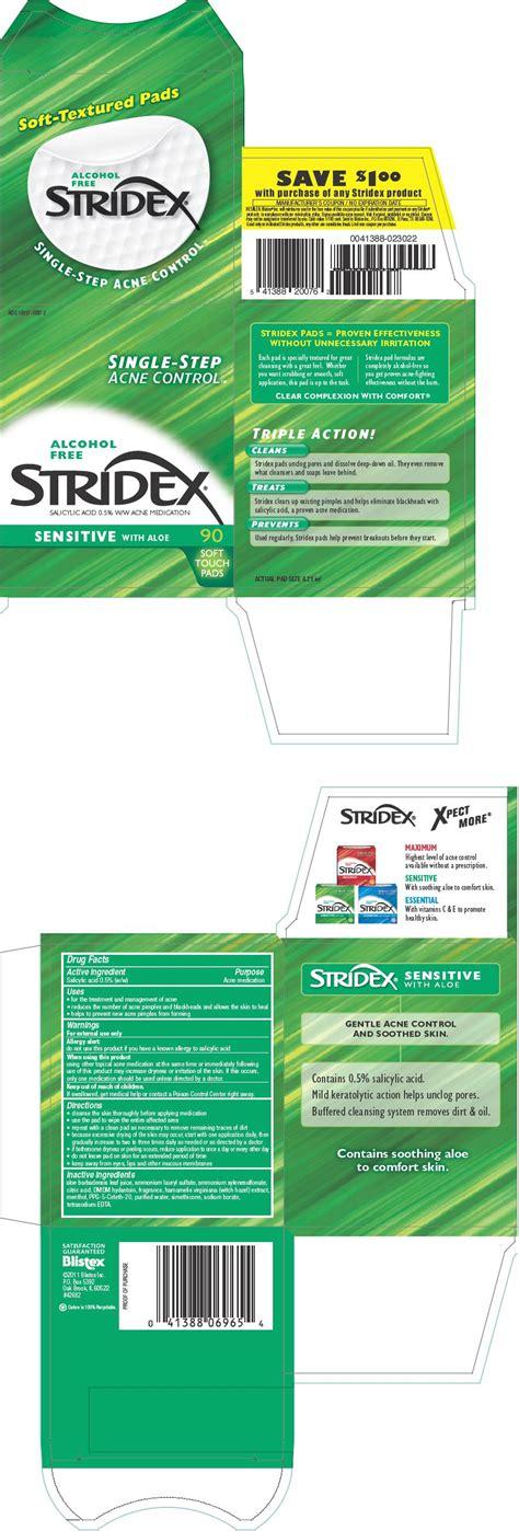 Stridex Sensitive (Blistex Inc) Salicylic Acid 0.5g in ...