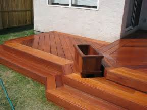 exotic decking stairs and planter box traditional