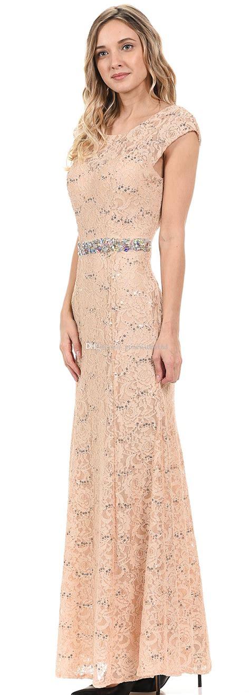 Simple Elegant Cap Sleeves Lace Long Evening Dresses 2017 ...