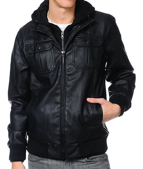 foto de Obey Rapture Black Faux Leather Hooded Jacket Zumiez