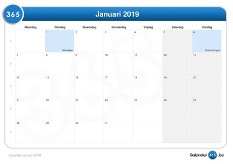 Kalender Januari 2019