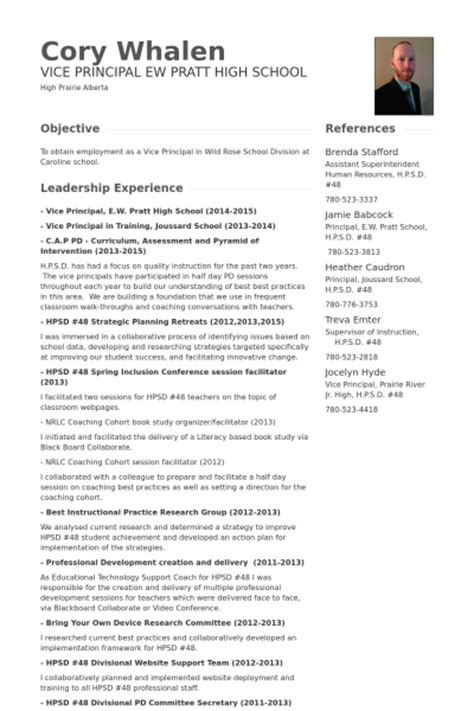 vice principal resume sles visualcv resume sles