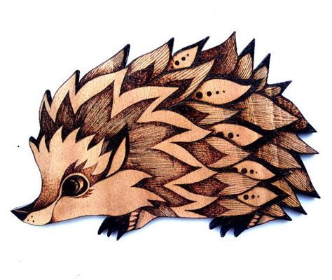 hedgehog wood wall hanging pyrography wood burning