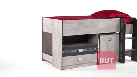lit bureau but lit combiné bureau 90x190 cm authentique fabric but