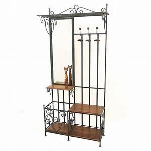 vestiaire retro en fer forge et palissandre meuble d39entree With porte d entrée pvc avec meuble linge salle de bain