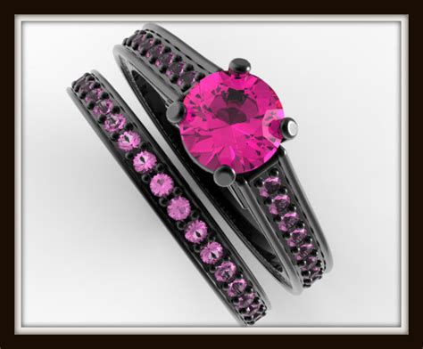 Pink Sapphire Black Gold Bridal Ring Set-unique Ring