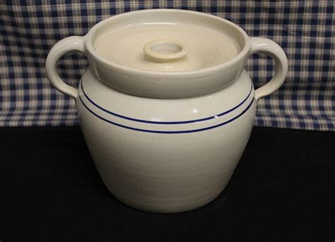 stoneware bean usa pottery crock baked pot stew stripe bakeware crocks cooking reproduction bake cottagecraftworks