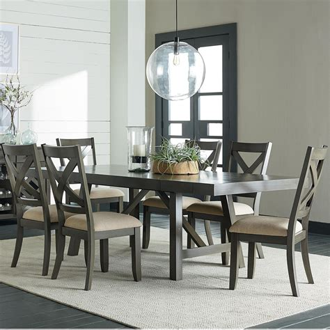 trestle dining table grey standard furniture omaha grey 7 trestle table dining 6376