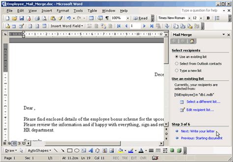 mail merge   microsoft word document