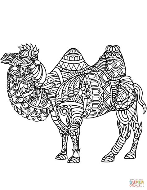 Bactrian Camel Zentangle coloring page Free Printable