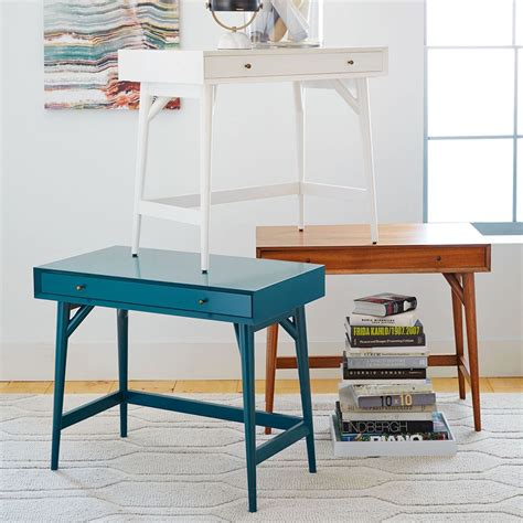 Mid Century Mini Desk White West Elm Uk