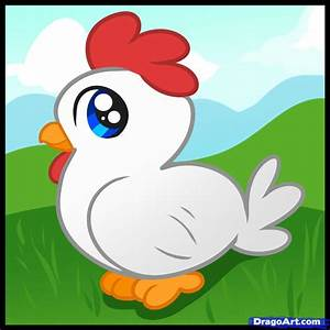 How to Draw a Chicken for Kids, Step by Step, Animals For ...