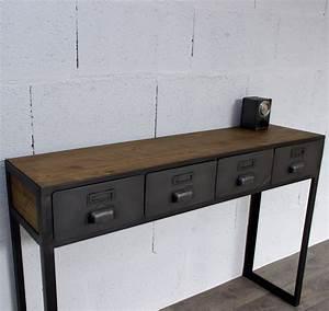 Console Murale Avec Tiroir : console bois avec tiroir maison design ~ Teatrodelosmanantiales.com Idées de Décoration