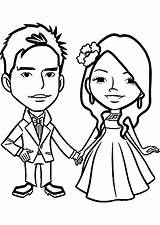 Coloring Anniversary Marriage Pages Wedding Couple Chibi sketch template
