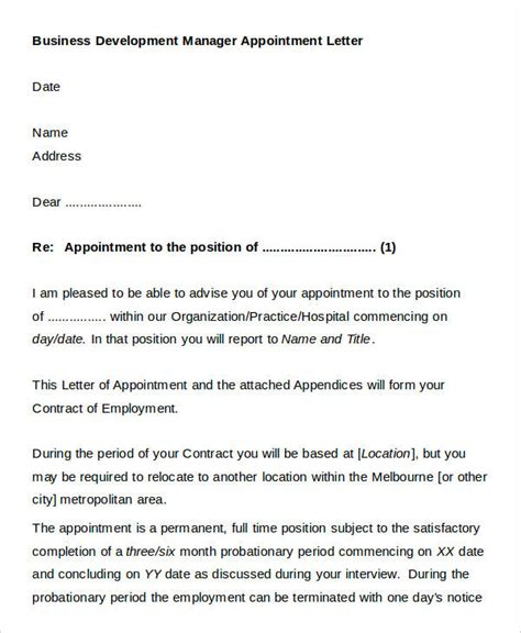 official appointment letter templates   word