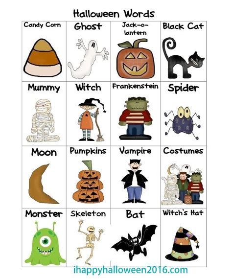 halloween vocabulary list words starting     p