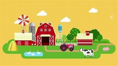 Farm Cartoon Animated Cow Tractor Pig Animation