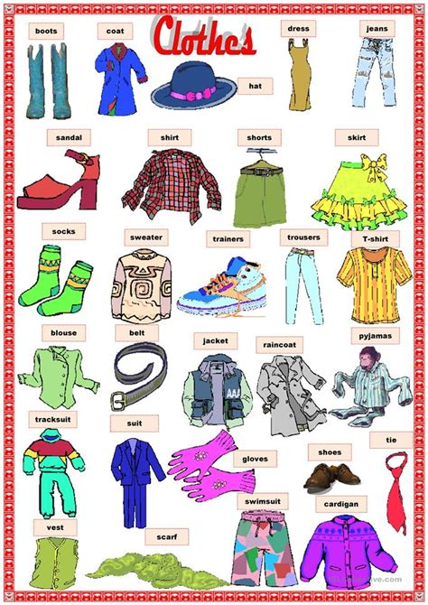 clothes worksheet  esl printable worksheets