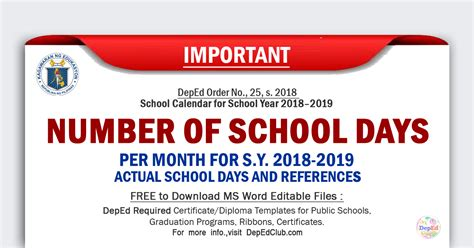update deped number school days month sy