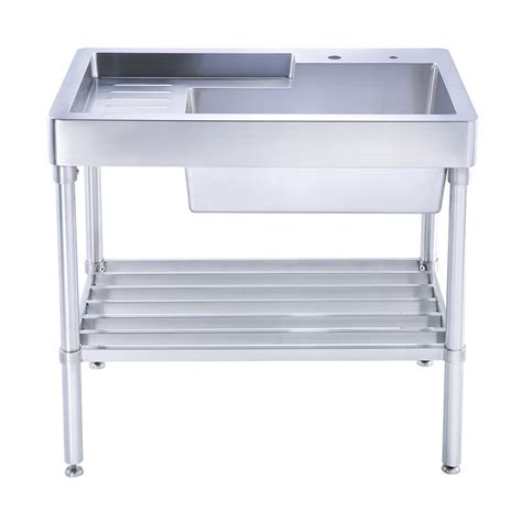 stainless steel utility sink with drainboard whitehaus wh33209 leg np pearlhaus brushed stainless steel